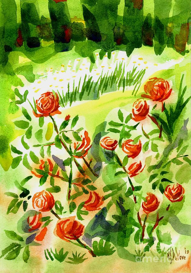 Red Roses With Daisies In The Garden Painting