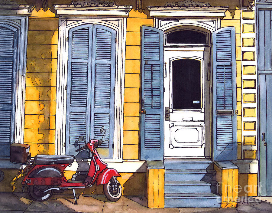 Red Scooter With Yellow House And Blue Shutters Painting by John ...