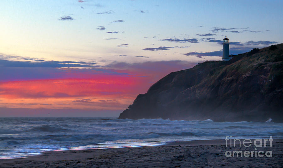 Red Sky At North Head Lighthouse Photograph