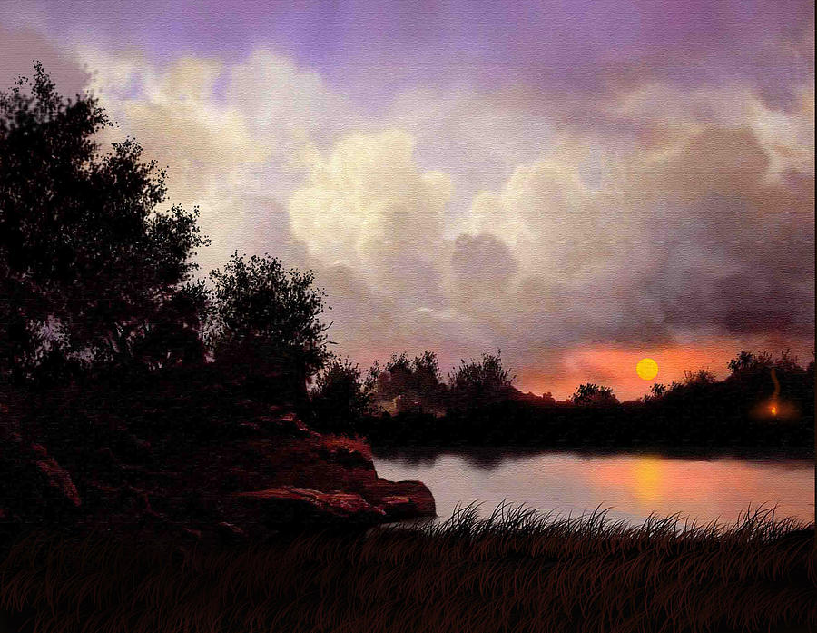 Landscape Painting - Red Sky Camp by Robert Foster