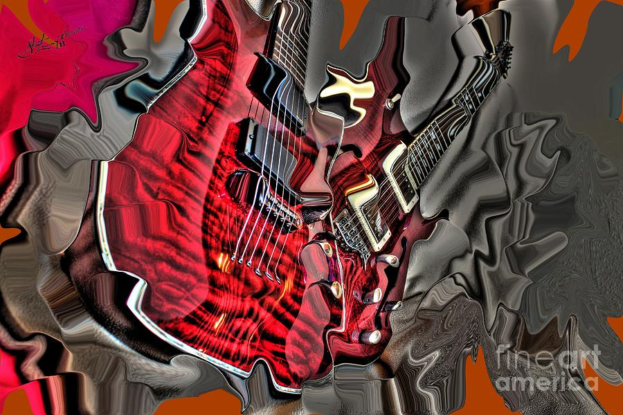 Red Steel Digital Guitar Art By Steven Langston Photograph