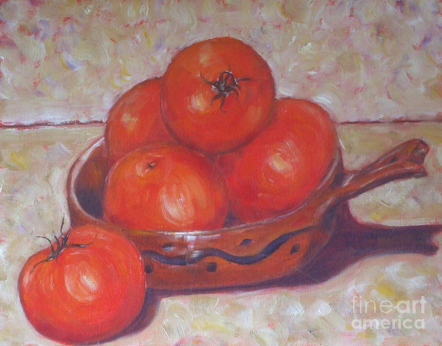 Red Tomatoes In A Dish Painting  - Red Tomatoes In A Dish Fine Art Print