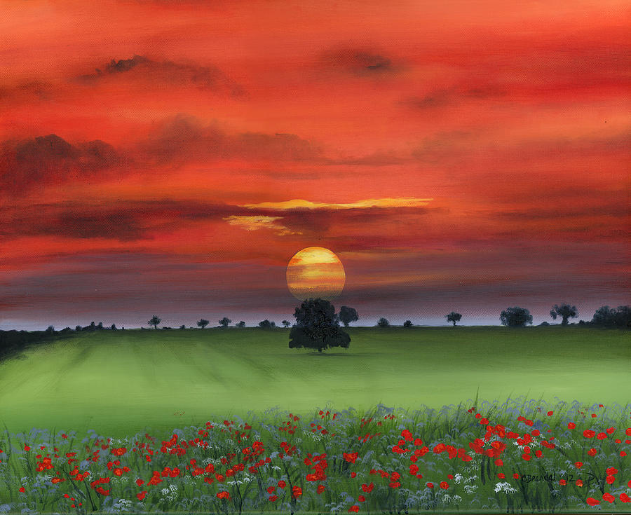 Red Tuscan Sunrise With Poppy Field Painting  - Red Tuscan Sunrise With Poppy Field Fine Art Print