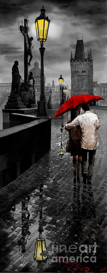 Red umbrella 2 mixed media by yuriy shevchuk for Painting red umbrella