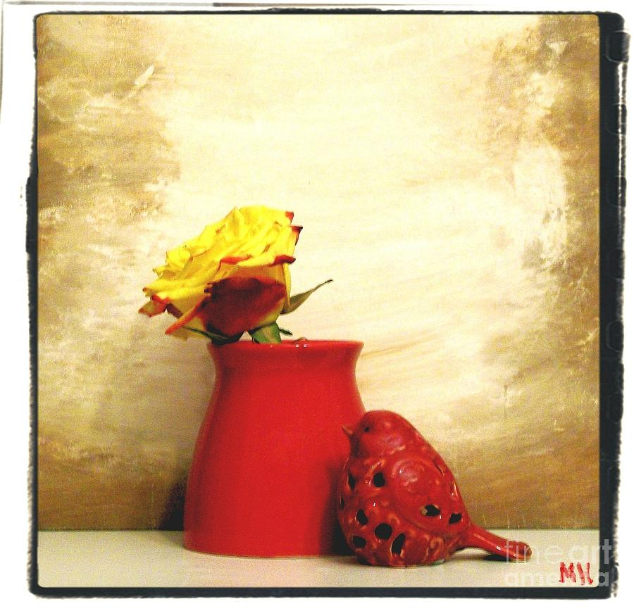Red Vase Red Bird And Red Yellow Rose Photograph  - Red Vase Red Bird And Red Yellow Rose Fine Art Print