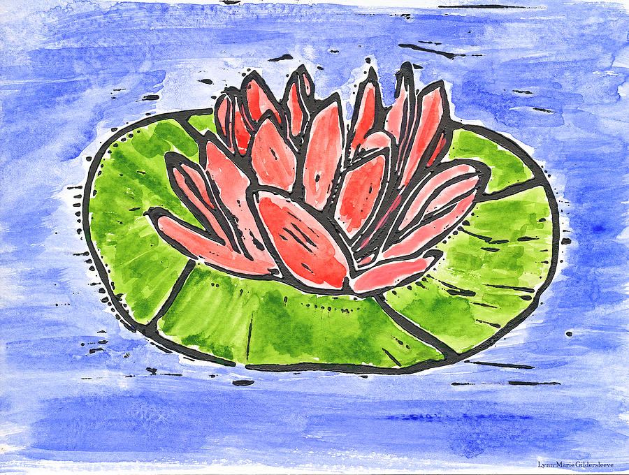 Red Waterlily Mixed Media