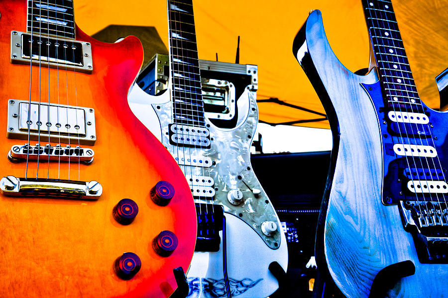 Red White And Blue Guitars Photograph