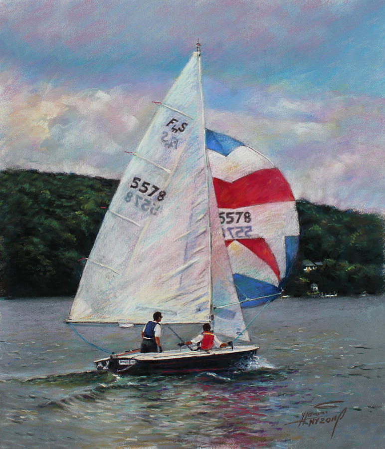 Sailboat Drawing - Red White And Blue Sailboat by Viola El