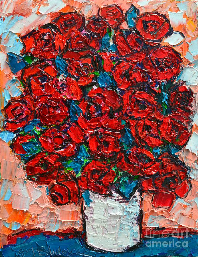 Roses Painting - Red Wild Roses by Ana Maria Edulescu