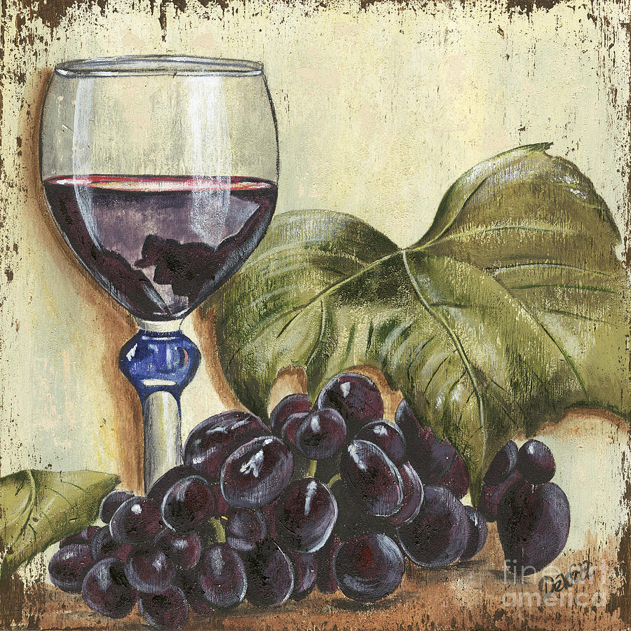 Red Wine And Grape Leaf Painting