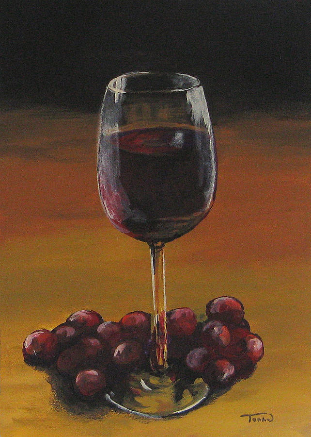 Red Wine And Red Grapes Painting  - Red Wine And Red Grapes Fine Art Print