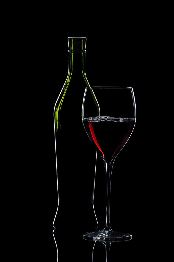 Red Wine Bottle And Wineglass Silhouette Photograph  - Red Wine Bottle And Wineglass Silhouette Fine Art Print