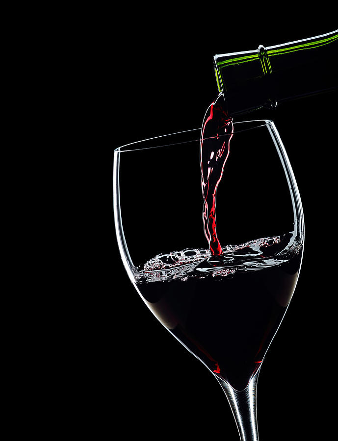 Red Wine Pouring Into Wineglass Splash Silhouette Photograph