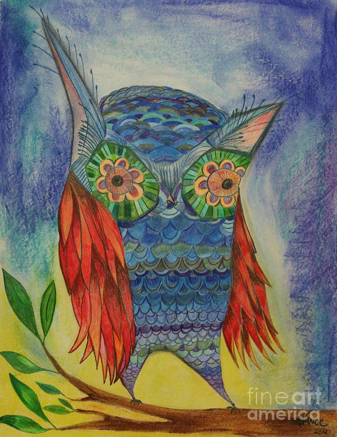 Owl Mixed Media - Red Wing by Aimee Vance