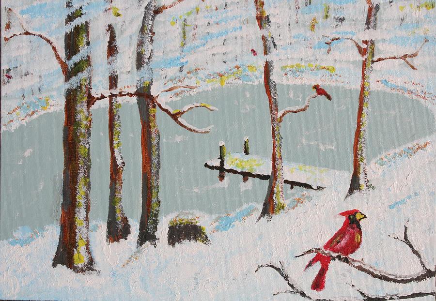 Redbird Winter Painting