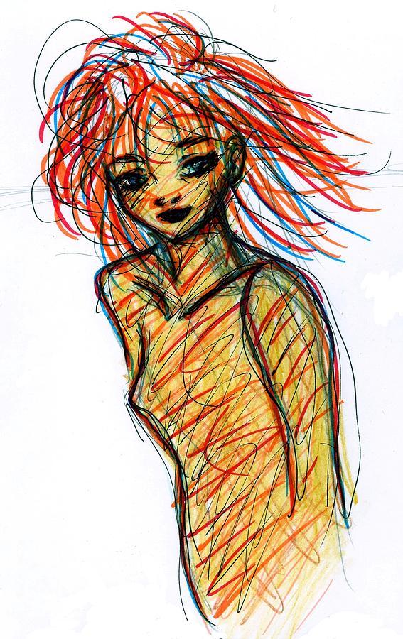 Redhead Drawing - Redhead I by Rachel Scott