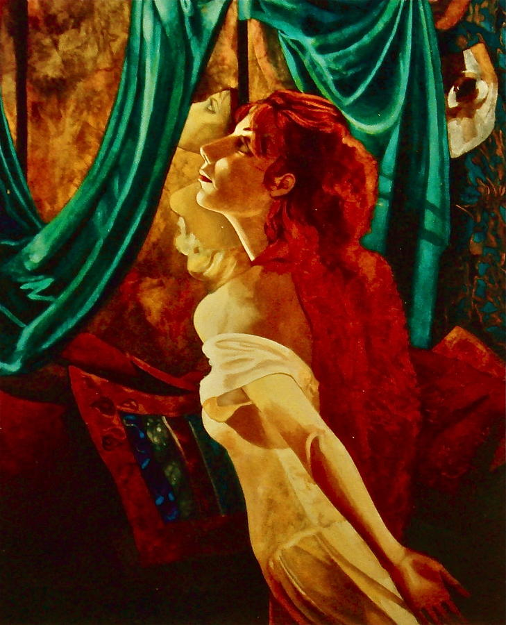 Redhead In The Mirror Painting  - Redhead In The Mirror Fine Art Print