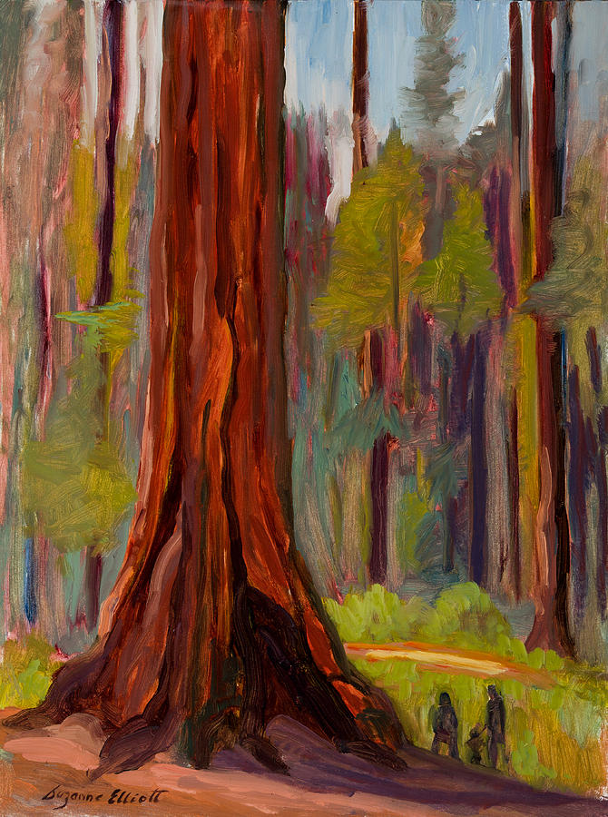 Redwood Giant Painting by Suzanne Elliott Redwood Tree Painting