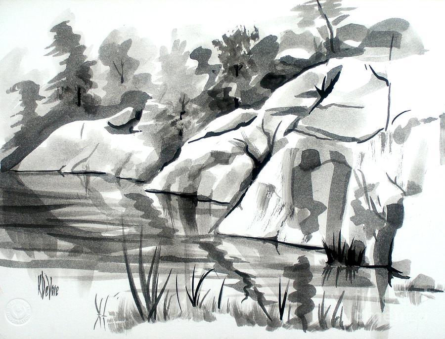 Reflections At Elephant Rocks State Park No I102 Painting