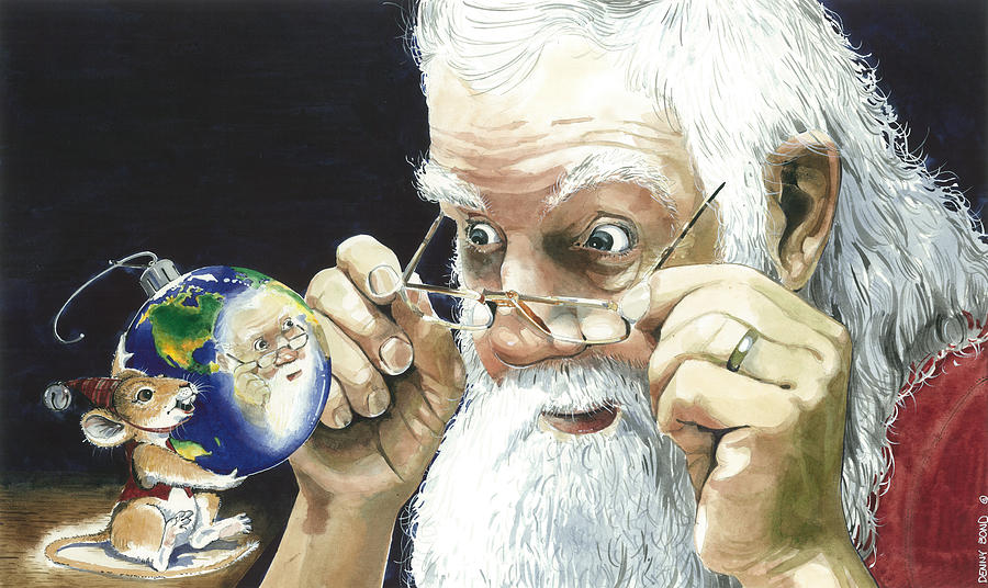 Santa Painting - Reflections by Denny Bond