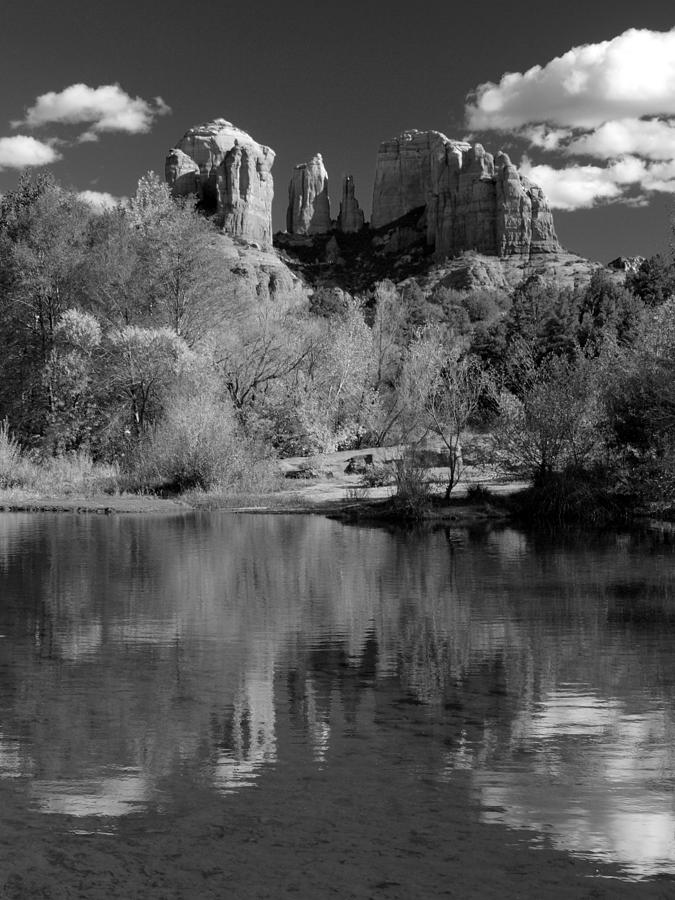 Reflections Of Sedona Black And White Photograph