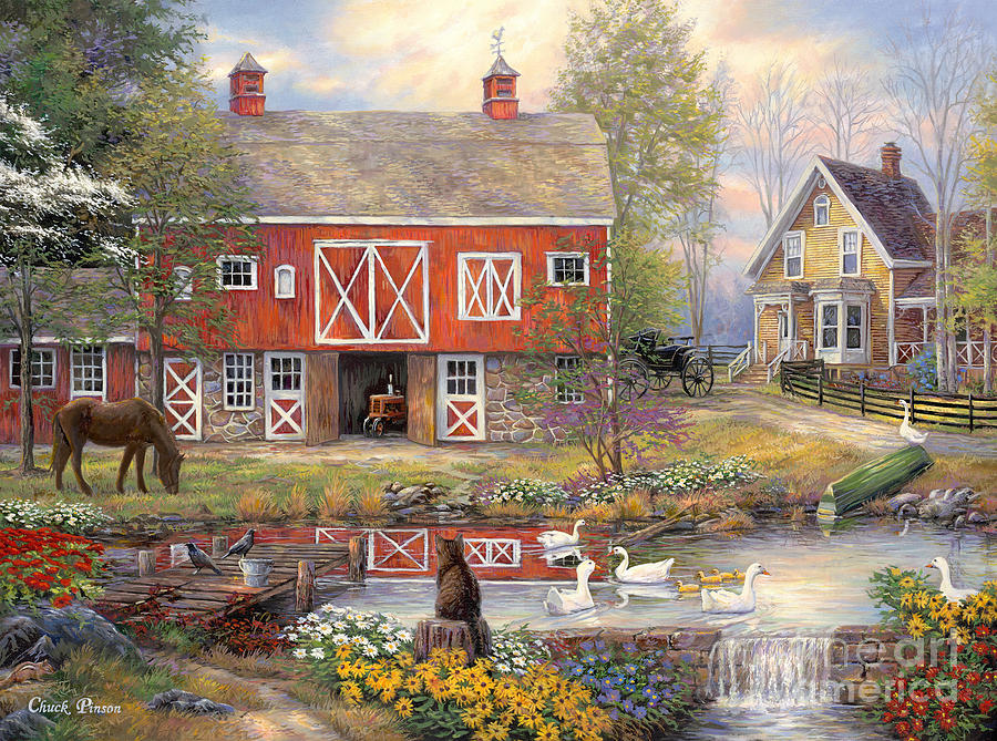 Reflections On Country Living Painting By Chuck Pinson