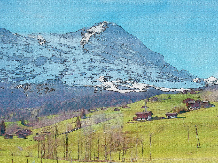 Refreshing Swiss Alps Watercolor Photograph
