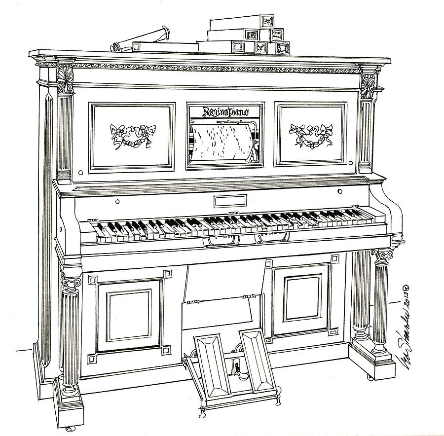 Regina Player Piano Drawing
