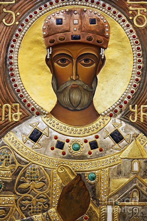 Religious Art Inside The Tsminda Sameba Cathedral Tbilisi Photograph