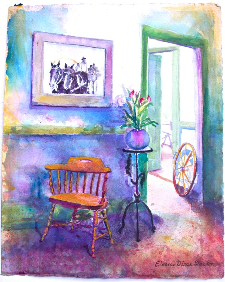 Interior Scene In Blues And Greens Painting - Remberence  by Eleanor  Dixon Stecker