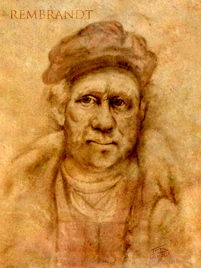 Rembrandt From His Self Portrait Drawing  - Rembrandt From His Self Portrait Fine Art Print