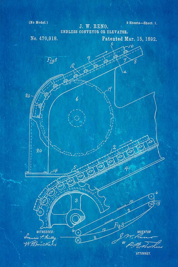 Reno Escalator Patent Art 1892 Blueprint Photograph