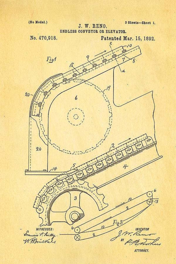 Reno Escalator Patent Art 1892 Photograph