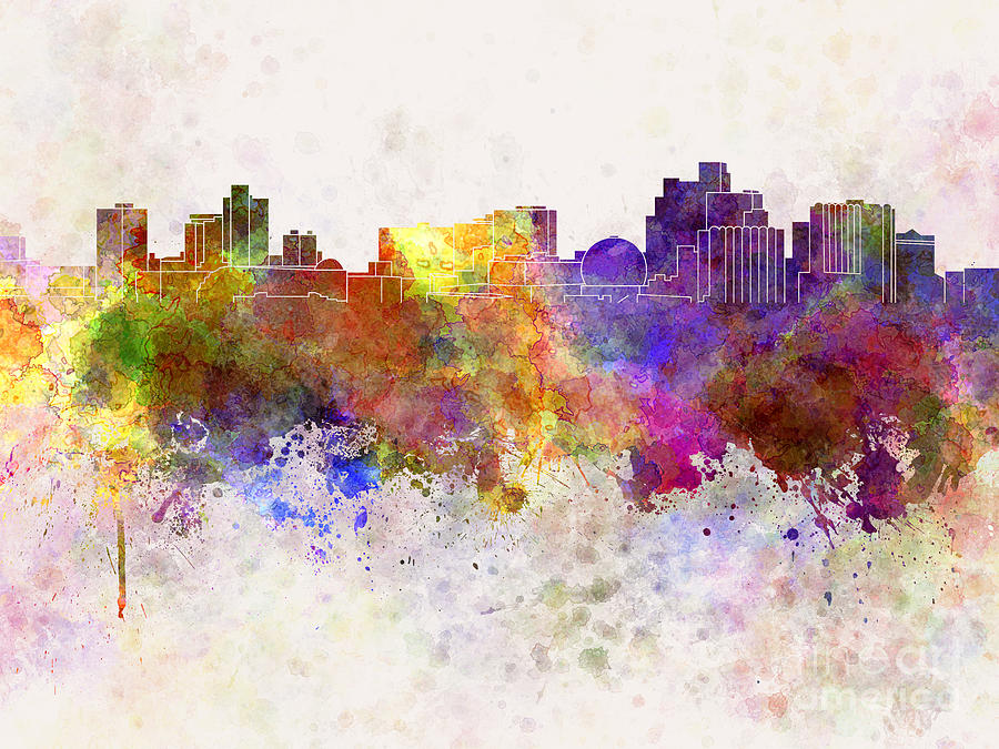 Reno Skyline In Watercolor Background Painting By Pablo Romero