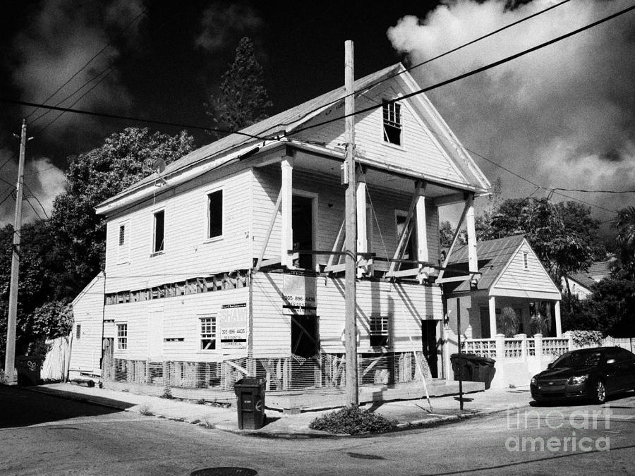 Repairs To Traditional Two Storey Wooden House In The Old Town Of Key West Florida Usa Photograph