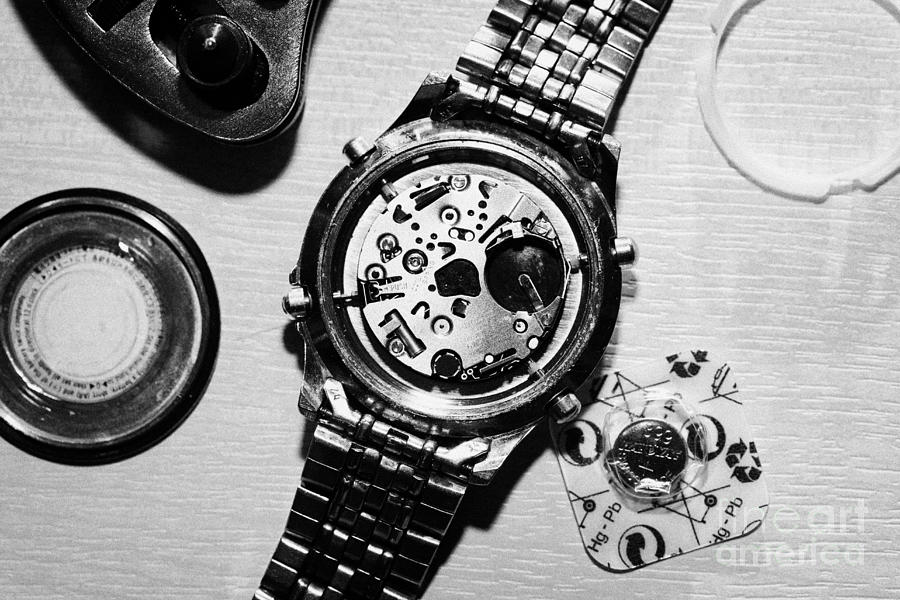 Replacing The Battery In A Metal Band Wrist Watch Photograph
