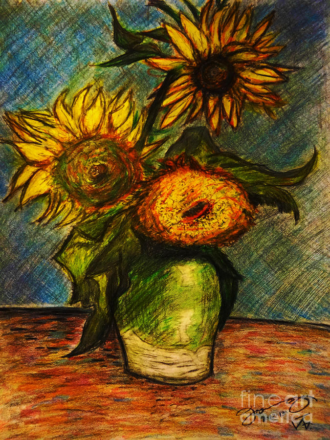 Replica Of Van Gogh's Three Sunflowers In A Vase Drawing ...