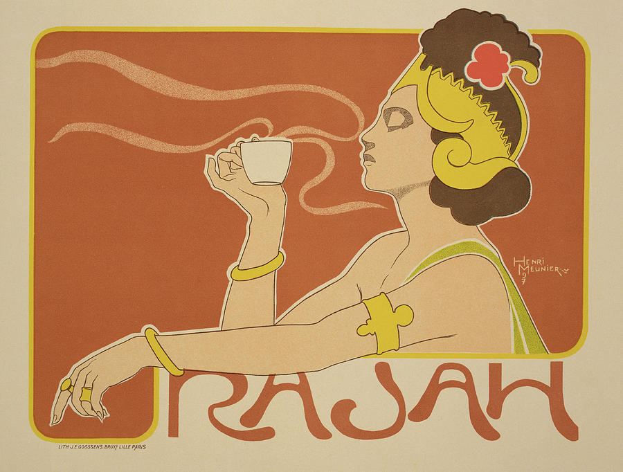 Reproduction Of A Poster Advertising The cafe Rajah Drawing