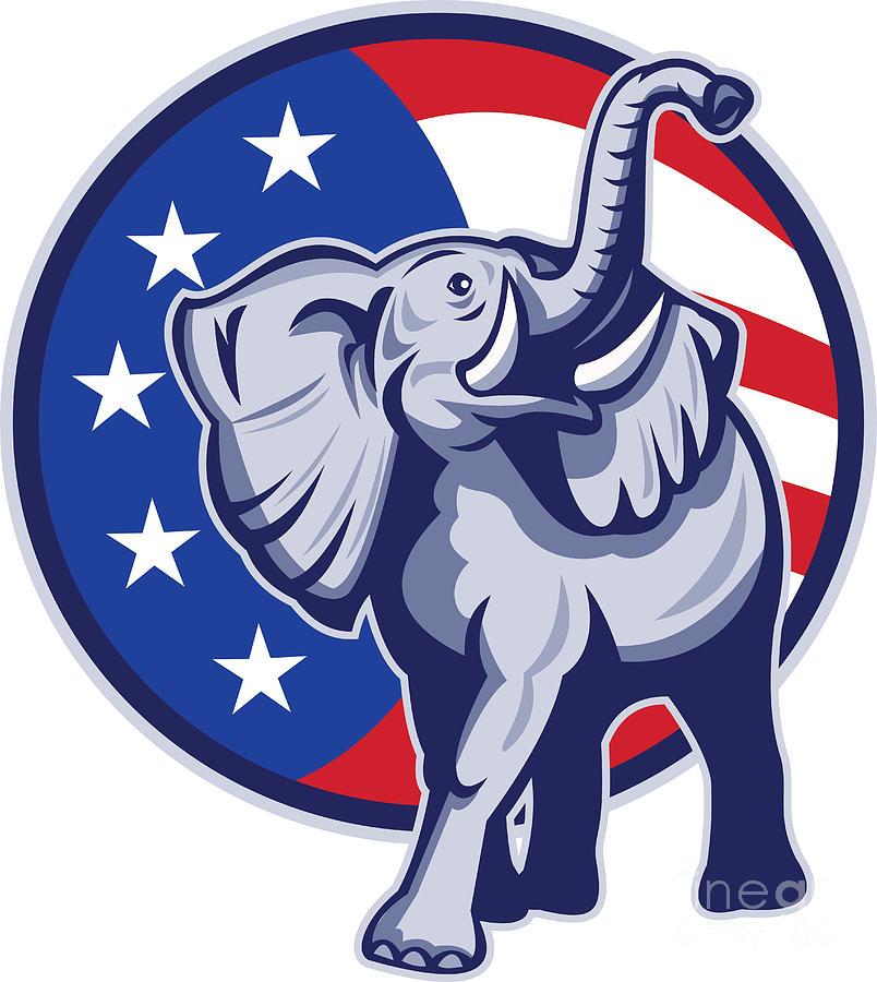 Elephant Digital Art - Republican Elephant Mascot Usa Flag by Aloysius Patrimonio