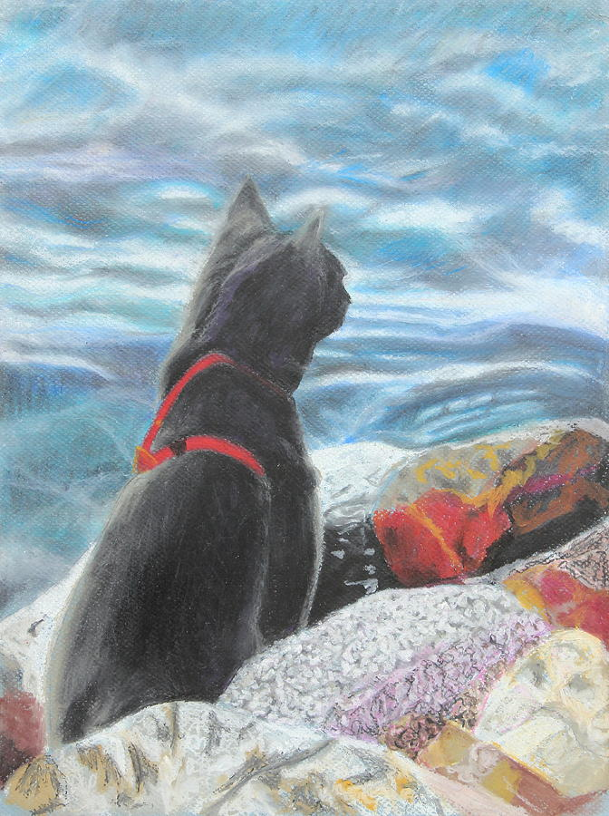 Cat Painting - Resting By The Shore by Jeanne Fischer