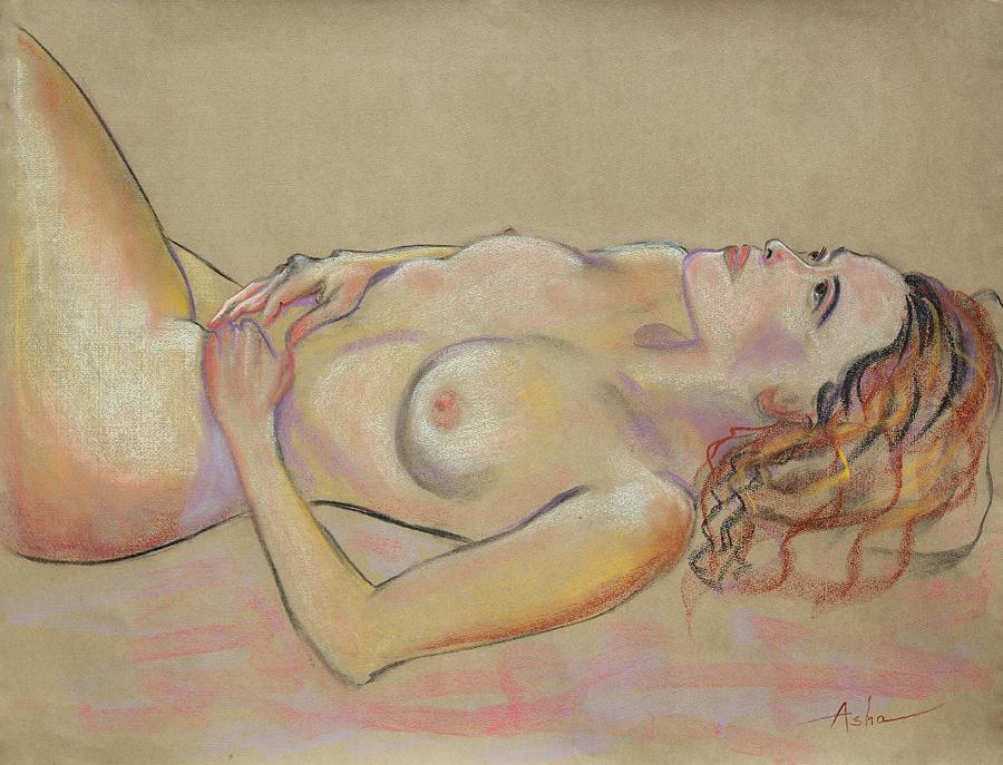 Resting Woman Looking Upward And Inward Painting