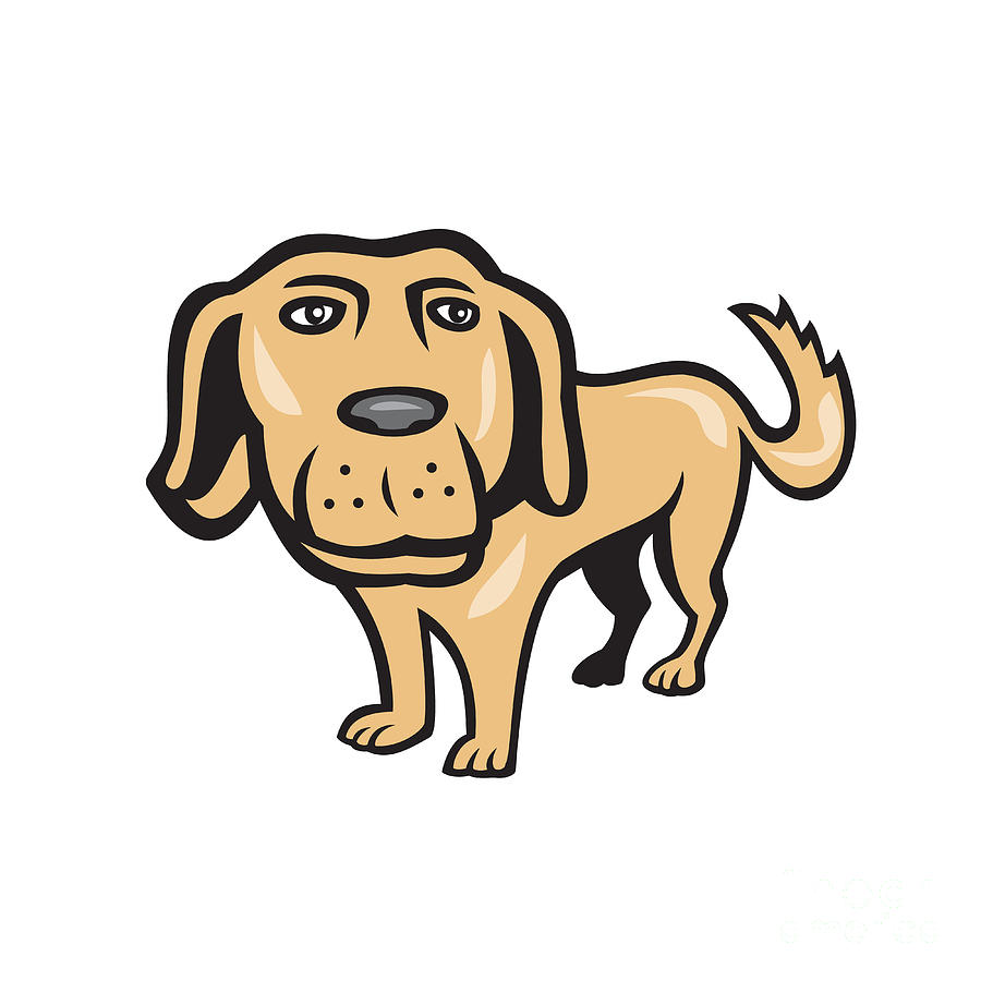 Retriever Dog Big Head Isolated Cartoon Digital Art