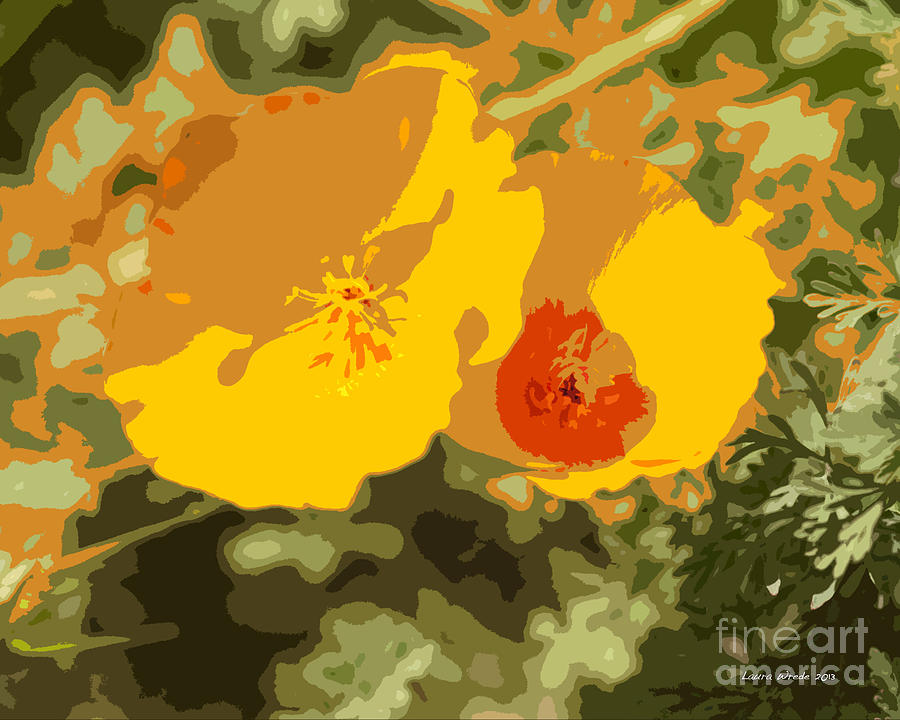 Retro Abstract Poppies 3 Photograph