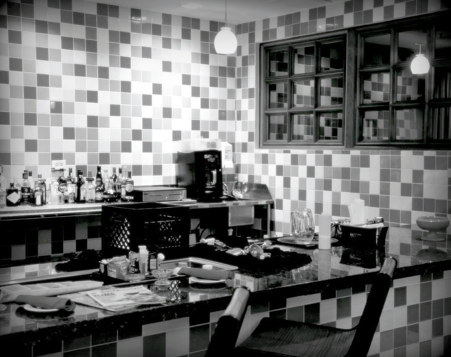Diners Photograph - Retro Diner Bw by Karen Wiles