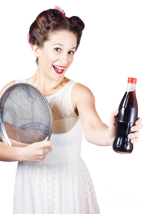 Retro Pin-up Girl Giving Bottle Of Soft Drink Photograph