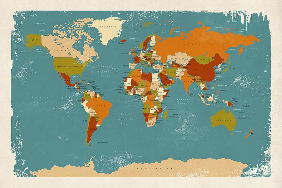 Retro Political Map Of The World Digital Art