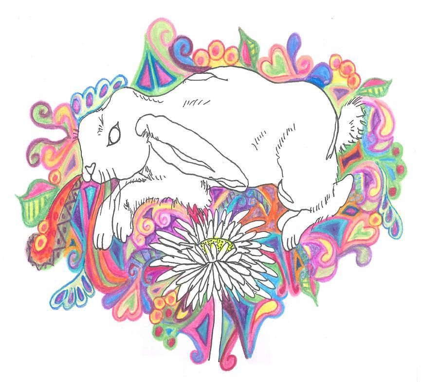 White Rabbit Drawing - Retro Rabbit by Cherie Sexsmith