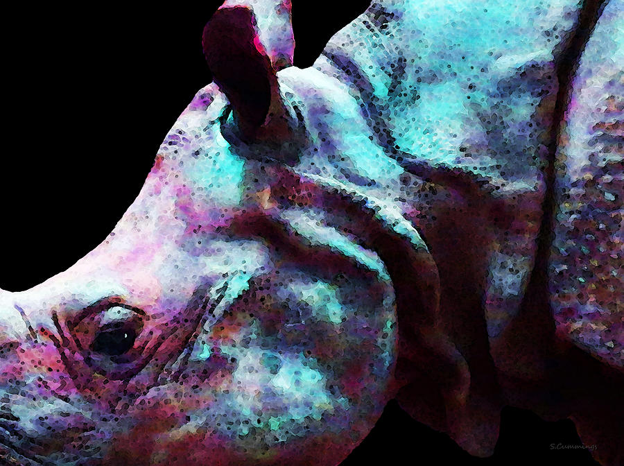 Rhino 1 - Rhinoceros Art Prints Painting