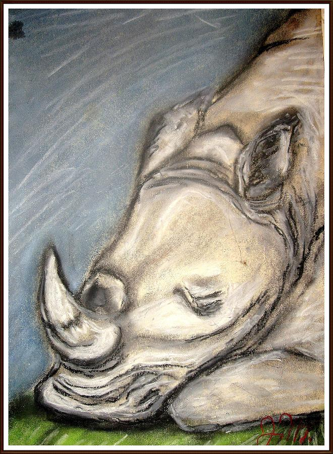 Rhino Sleeping Please Save Us Pastel  - Rhino Sleeping Please Save Us Fine Art Print
