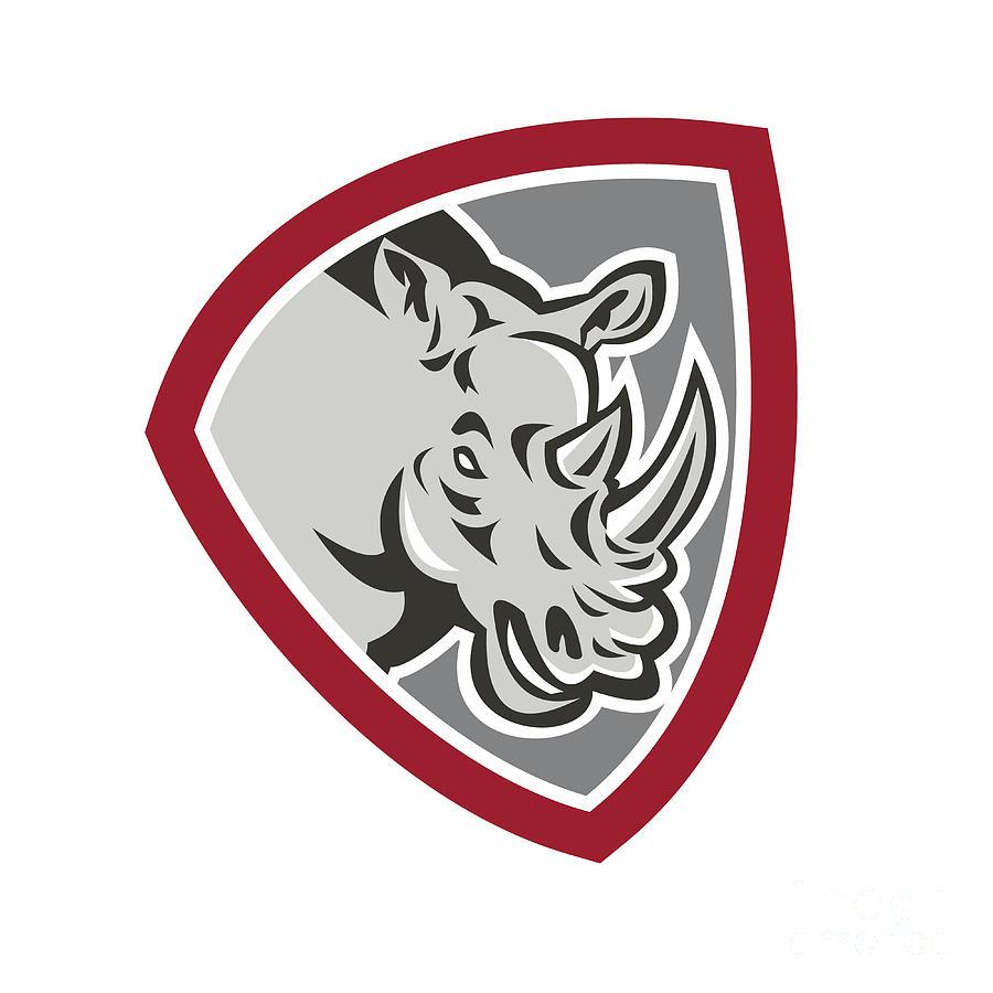 Rhinoceros Digital Art - Rhinoceros Head Side Shield by Aloysius Patrimonio